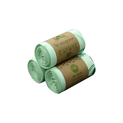 Bolsas de basura biodegradables 100 % IM ECOGREEN, 7 - 8 litros, 150 unidades, extragruesas, biodegradables y compostables, con certificado TUV Home ok Compost