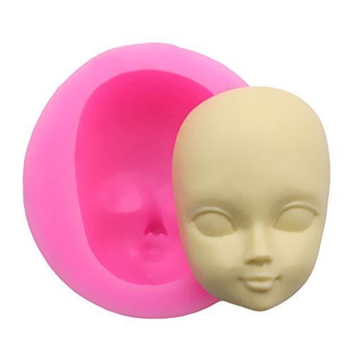 liangjunjun - Stampo di qualità Alimentare in Silicone 3D per Il Viso di Una Bambina, a Forma di Testa, per Cioccolato, Fondente, Caramelle, Sapone, Argilla, polimero