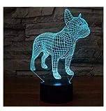3d-Hunde, französische Bulldogge, Illusion Nachtlicht Lampe 7Farben ändern LED-Streifen, USB-Spielzeug für Kinder, Dekoration, Weihnachten, Valentinstag Geschenk