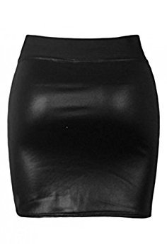 SODIAL (R) Sexy Frauen Rock PU-Leder Mini kurzer Rock - schwarz