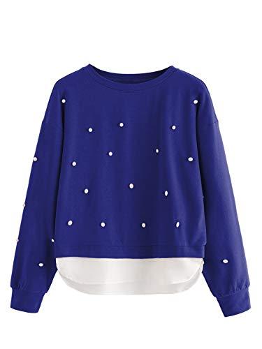 DIDK Damen Perlen Sweatshirt,Damen Pulli 2 In 1 Sweatshirt Mit Perlen Farbblock Pullover Rundkragen Tops Sweatshirt Outwear Oberteil Blau mit Weiß S
