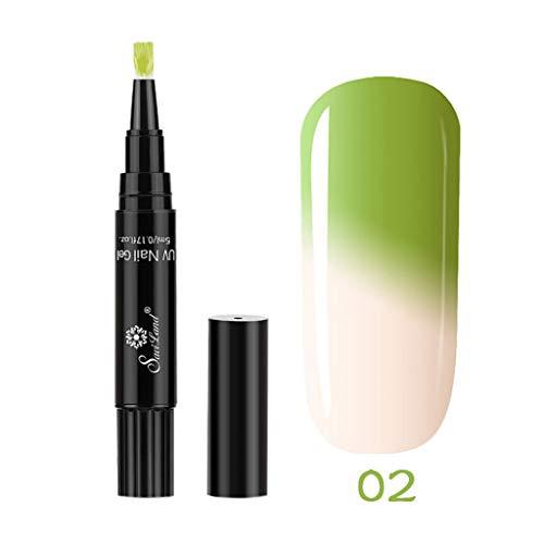 Cwemimifa Vintage Nude Uv Nagellack,1 PC 3 in 1 Schritt-Nagel-Gel-Stift EIN Schritt-Nagel, zum des UVtemperatur-Änderungs-Gels zu verwenden,Mehrfarbig -