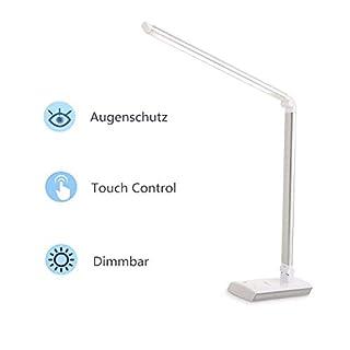 Albrillo Touch Sensor LED Schreibtischlampe - 4 Farbtemperaturen und Helligkeitsstufen auswählbar, Tischlampe mit Touchfeldbedienung und Speicherfunktion, Energieeffizient, Silver