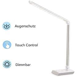 Albrillo Lampada da Tavolo LED, 11W Lampada Scrivania da Studio, Touch Control, 4 Temperature di Colore & 4 Livelli di Luminosità, Luce gradevole per Occhi
