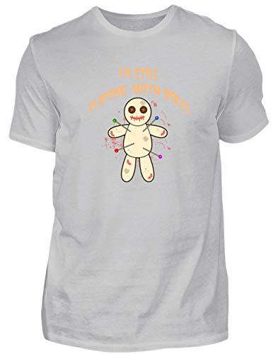 Hexerei, Voodoo-puppen (I'm Still Playing with Dolls - Voodoo Puppe Nadeln - Herren Shirt -XL-Pazifik Grau)