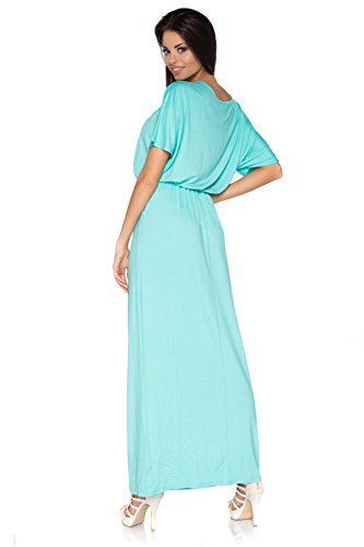 Futuro Mode elegant Imperium Maxi Kleid komplett Länge U-Boot-Ausschnitt langärmlig Cocktail Style offen Halsausschnitt Size 8-18 UK fm08 Graphit
