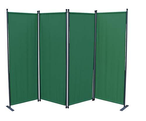 GRASEKAMP Qualität seit 1972 Paravent 4 teilig Grün Raumteiler Trennwand Sichtschutz Balkontrennung