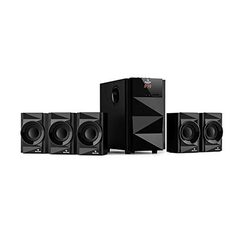 auna Z-Plus 5.1 Lautsprechersystem (70 Watt RMS, OneSide Subwoofer, Balanced Sound Concept, Bluetooth, USB-Port, SD-Slot, UKW-Tuner, inkl. Fernbedienung) schwarz (Cinch-surround-sound-fernbedienung)