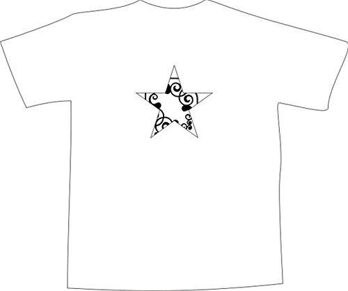 T-Shirt E1063 Schönes T-Shirt mit farbigem Brustaufdruck - Logo / Grafik - Comic Design - abstraktes Rankenornament im Stern Schwarz