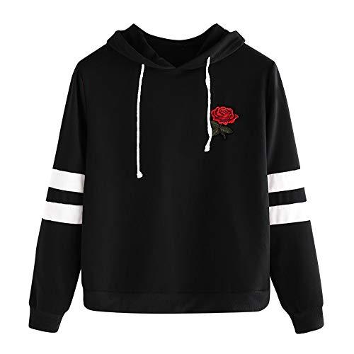 Sweat à Capuche Femmes, Printemps Automne Hiver Sweat-Shirt Manteau Veste for Women Pas Cher Hoodies, Rose en Broderie [Cadeaux De NoëL] [Version AméLioréE] (Rose, L(EU=40))
