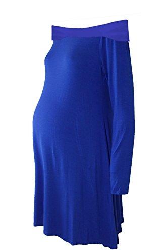 Janisramone Femmes Dames Nouveau Plaine hors L'épaule Bardot Longue Manche Maternité Évasé Balançoire mini Robe Haut Royal Bleu