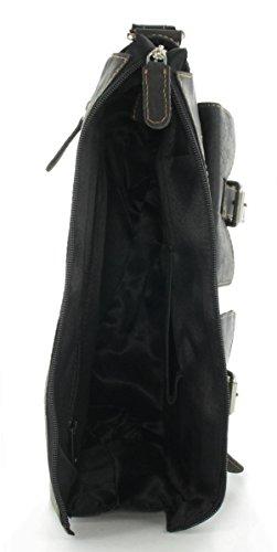 JSI Unisex Umhängetasche Überschlagtasche Freizeittasche Leder 191039 Dunkelbraun Schwarz