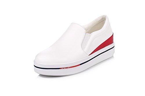 AllhqFashion Femme Tire Pu Cuir à Talon Haut Couleurs Mélangées Rond Chaussures Légeres Blanc