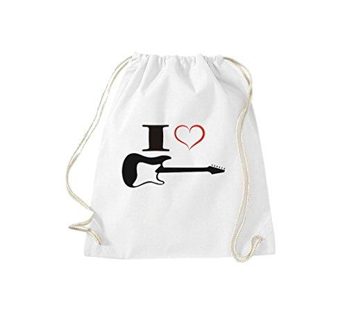 Shirtstown, Sac de gym Musique I Love Guitare électrique Blanc - Blanc
