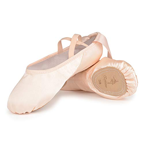 Satin Ballet Dance Shoes Split Leather Sole Pink Ballet Slippers Flats with Ribbon Gymnastics Shoes for Girls Women