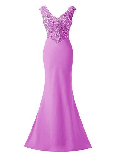 Bbonlinedress Robe de cérémonie Robe de soirée emperlée col en V avec traîne Lilas