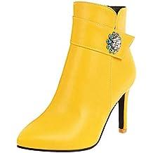 Logobeing Botines Mujer Tacones Zapatos Sexy Puntiagudos Rhinestones Stiletto Botines con Cremallera Lateral Botas para Mujeres