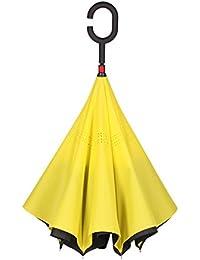 Paraguas Reversible, Paraguas de Doble Capa con Mango Largo, fácil de Guardar el Paraguas