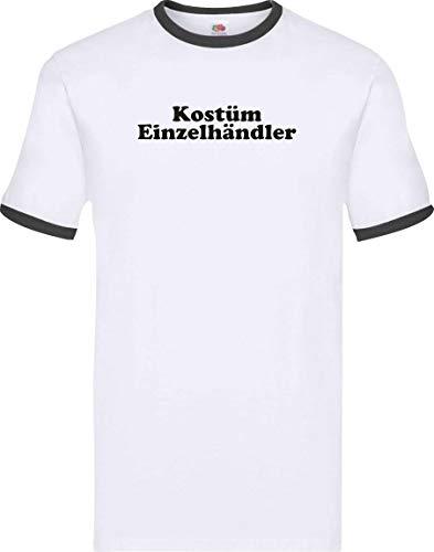 Kostüm Einzelhändler - Ringer Shirt Karneval Kostüm Einzelhändler Fasching Kostüm Verkleidung, Farbe Weiss-schwarz, Größe XXL
