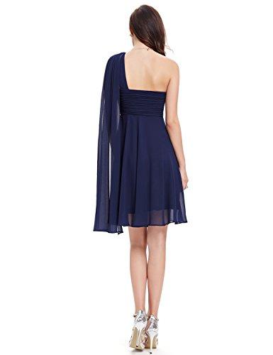 Ever Pretty Robe de Demoiselle d'honneur avec une ¨¦paule en fleur de volant 03537 Bleu marine