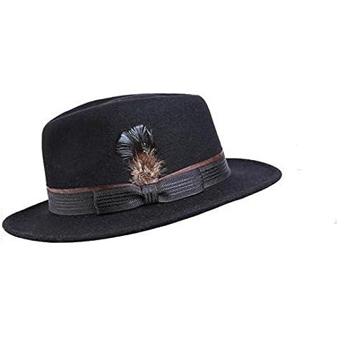 WE&ZHE Cappellino di feltro cappello Jazz misto cappello piuma decorare formale del Signore cap breve eaves britannico stile retrò autunno e inverno , black
