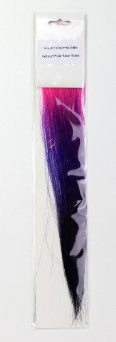 2 mèches sauvages, fixation par clip, trois couleurs : Rose & Bleu & Noir / Highlight Punk/ EMO/ Gothique 3030-JB3-PBB