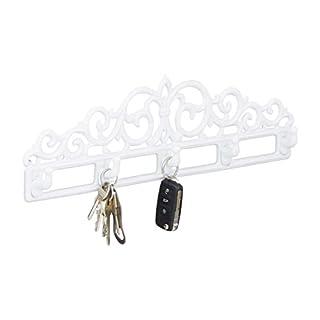 Relaxdays Garderobenleiste aus Gusseisen, 5 Haken, Antiker Landhausstil, HBT: ca. 13,5 x 42 x 4 cm, weiß