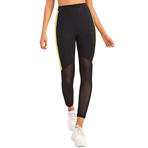 Maleya Sport Leggins Yogahosen für Damen Sporthose Lang Tights High Waist Farbe-farbige nähende Eignung der Frauen, die Yoga-neunminütige Hosen Laufen lässt