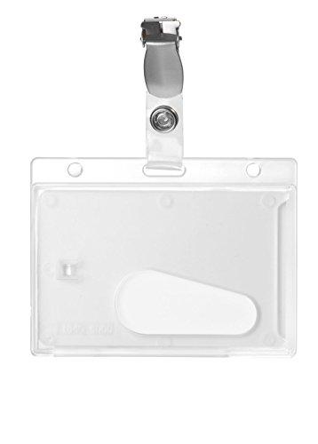 Karteo® Ausweishülle transparent mit Clip und Daumenausschub horizontal aus Plastik Hartplastik Polycarbonat für 1 eine Karte für Ausweise Kreditkarten Dienstausweise EC Karten Bankkarten Gesundheitskarten (54 x 86 mm) geeignet auch als Ausweishüllen Kartenhülle Kartenhüllen Ausweishalter Kartenhalter Halter -
