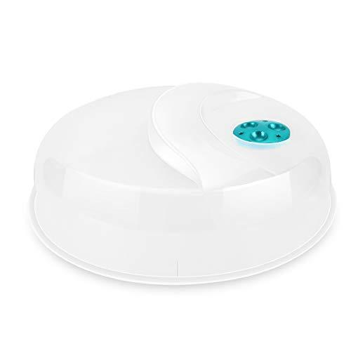 Flexzion Mikrowelle Platte Abdeckung mit Einstellbare Dampfbelüftungsloch, BPA-frei Transparent Anti-Spritzschutz aus Kunststoff Deckel 12 Zoll