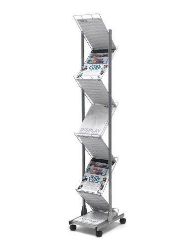 Deflecto Mobiler Präsentations-Ständer, A4, mit 7 Ablagen, Silberfarben