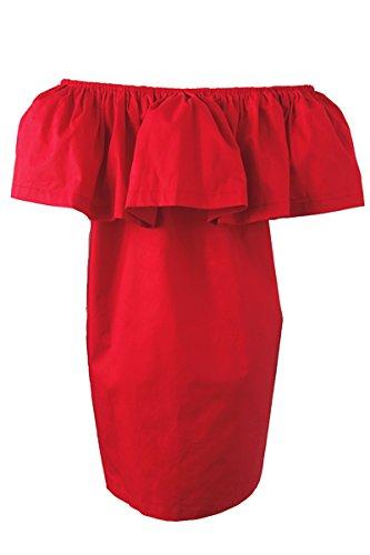Simplee Apparel donna libera dalla spalla anti cotone tunica mini quinta vestito per l'estate Rosso
