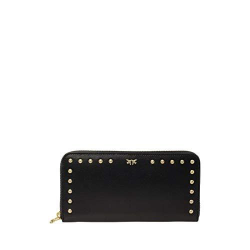 Pinko portafoglio zip-around in pelle con borchie 1p21ep