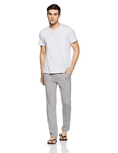 Jockey Men's Cotton Track Pants (8901326105153_9501_L_Grey Melange, Black and White)