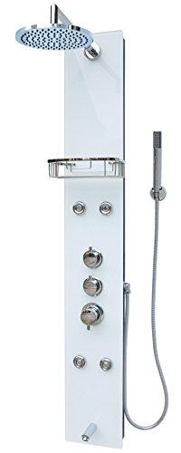Glas Duschpaneel Duschsäule Duschsystem Duscharmatur Handbrause Duschkopf Wanneneinlauf Armatur Regendusche Massagedüsen Schwarz Weiss