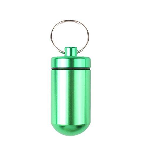 calistouk 1Stück Medikamentendosierer Pillenbox Tablettendose Tablettenbox Pillendose aus Aluminium Fall Medizin Flasche Halter grün