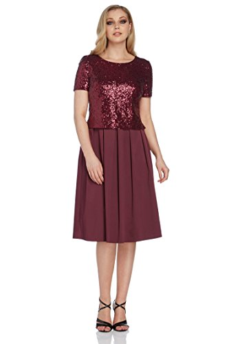 Roman Originals - Robe Patineuse Sequins Paillettes Soirée - Noir Rouge