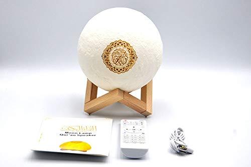 C&JQ Koran Mond Lampe,3D Nachtlicht LED Mond Lampe Fernbedienung Farbige Dekoleuchte Mondlicht Sternenhimmel Nachtlicht Mit Touchschalter Dimmbar
