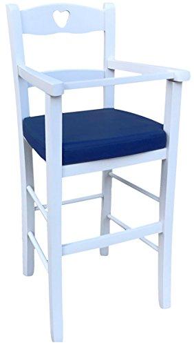 Ok affarefatto maddaloni sediolone sgabello sedia seggiolone bimbo legno in tinta bianco con seduta imbottita ecopelle blu