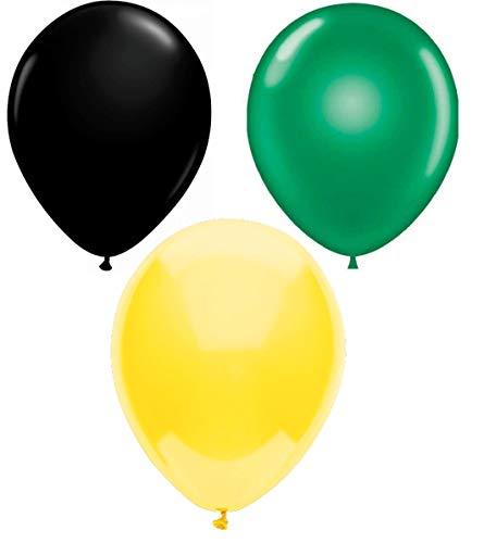INERRA Globos - Pack of 75 Mezclado (25 X Negro, 25 X Verde Brillante & 25 X Amarillo) Látex 10' For Helio o Aire