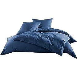 Mako-Satin Baumwollsatin Bettwäsche Uni einfarbig zum Kombinieren (Kissenbezug 40 cm x 80 cm, Jeans Blau) viele Farben & Größen