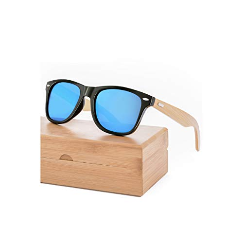 DYFDHA Sonnenbrillen Retro Wood Sunglasses Men Sunglass Women Brand Sport Goggle Mirror UV400 Sun Glasses Male Shades Lunette Oculos With Case C Matt black