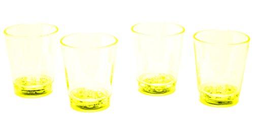 LED-Highlights Glas Becher Schnapsglas 60 ml 4 er Set LED gelb Bar Kunststoff Trinkglas mit Batterie