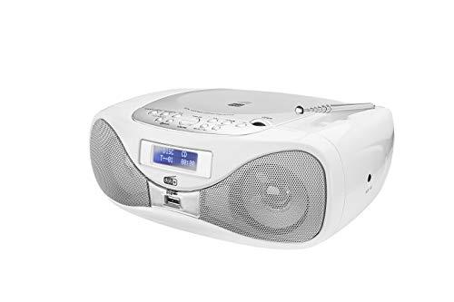 Oferta de Radio con CD • Radio Digital • Radio FM • Boombox • Reproductor de CD • Altavoz estéreo • Entrada AUX • Puerto USB • Funcionamiento con Red/batería • Portátil • Blanco • Dual Dab-P 160