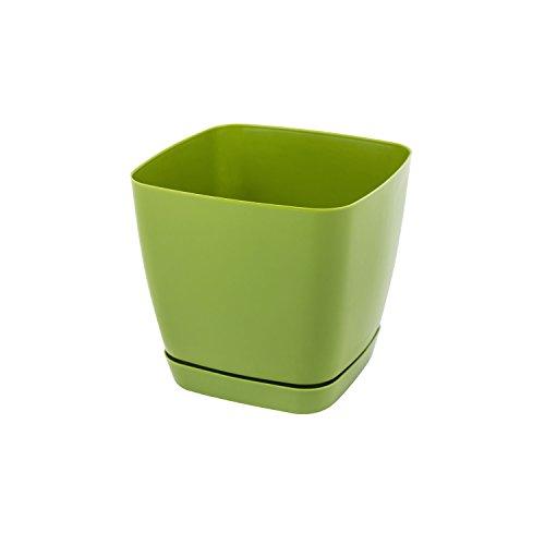 Pot de fleur Toscana en plastique carré 13 cm avec soucoupe, en vert