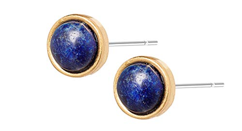 Sence Copenhagen Damen Ohrstecker Gold aus der Freedom Song Serie mit blauem Quartz Messing vergoldet - K036