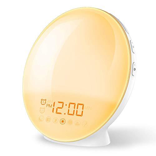 Wake up Licht, Lichtwecker Coulax Wecker mit 20 Helligkeitseinstellungen & 7 natürlichen Sounds &...