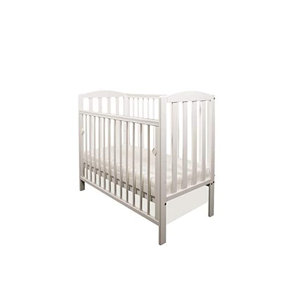 White Tobie Cot/Mini Cot/Space Saver Cot/Compact Cot with Drop Side by Little Babes Ltd + ECO Airflow Heavy Bonded Fibre Mattress 100x50x10cm LITTLE BABES LTD Tobie Space Saver Cot + ECO AIRFLOW Fibre Mattress 100x50x10cm Cot Features: - 3 position mattress base - Drop side - Teething rails - External Dimensions: *Height: approx. 90cm *Width: approx. 57cm *Length: approx. 105cm Cot Complies with British Safety Standards BS EN 716-1: & 2:2008 2