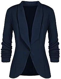 Minetom Femme Élégant Blazer à Manches Longues Slim Fit OL Bureau Affaires  Veste De Costume Un Bouton Manteau… 5646e61762b1