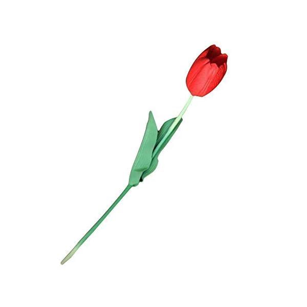 Deanyi 10pcs Classic Flor de Seda Artificial Flores, Tulipanes, Tulipanes Rojos para Boda, Dama d 'onore Boda Ramo Home Decoration (Rojo)